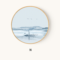 新中式圆形装饰画养生会所禅意水墨山水挂画客厅入户玄关走廊壁画 粉