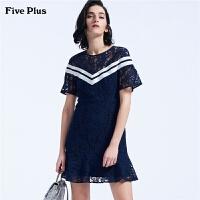 Five Plus女装蕾丝连衣裙高腰短裙条纹拼接荷叶边短袖圆领