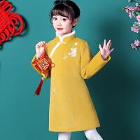 儿童旗袍秋冬女宝宝汉服长袖儿童中国风毛呢唐装