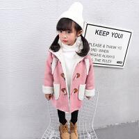 畅印 女童外套秋冬2017新款韩版中长款加厚加绒儿童冬季上衣女宝宝冬装lm 粉色 90cm