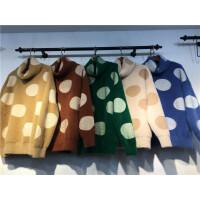 B2新款秋冬短款高领 毛衣女加厚 套头圆点宽松 仿水貂绒针织衫0.5