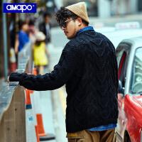 【限时秒杀价:163元】AMAPO潮牌大码男装冬季保暖粗针织厚毛衣加大加肥麻花套头针织衫