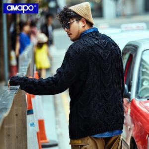 【限时抢购到手价:169元】AMAPO潮牌大码男装冬季保暖粗针织厚毛衣加大加肥麻花套头针织衫