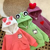 女童卫衣新款冬装加绒卡通上衣儿童女宝宝连帽卫衣