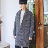 冬季韩版修身呢子风衣男中长款男士毛呢外套 灰色