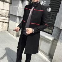 男士韩版中长款风衣男立领秋冬季修身呢子大衣男潮流帅气毛呢外套