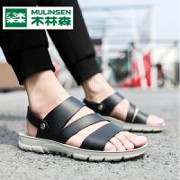 木林森男凉鞋夏季新款韩版防滑软底皮凉鞋室外休闲沙滩拖鞋男