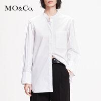 MOCO2019春季新品纯棉设计感纯色立领长袖上衣女MAI1TOP027摩安珂