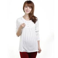 慈颜白色孕妇衬衣圆领衬衫打底衫韩版孕妇装长袖上衣 春夏装1133