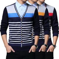 2017男士冬装韩版修身假两件衬衫加绒保暖衬衫加厚条纹针织衫