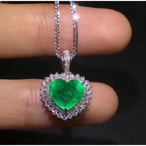 天然祖母绿心形吊坠,海洋之心!祖母绿被称为绿宝石之王.
