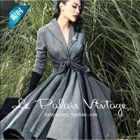 优雅复古灰色拼接收腰大裙摆式百搭长外套秋冬大衣女士风衣 灰色