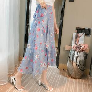 一片式半身裙春夏高腰雪纺碎花不规则系带鱼尾裙