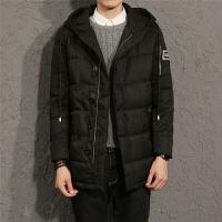 冬季新款棉衣男中长款 青年大码连帽外套 加肥加厚棉袄大衣 黑色 M