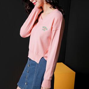 七格格2017秋装新款韩版学院风刺绣V领宽松套头长袖毛衣针织衫女