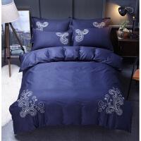 家纺床上用品全棉刺绣纯棉超柔亲肤四件套 2米床 被套220*240cm