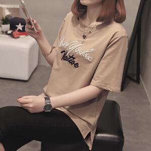 RANJU 然聚 2018女装夏季女装新品新款短袖t恤女韩版学生百搭时尚夏季打底衫体恤女潮