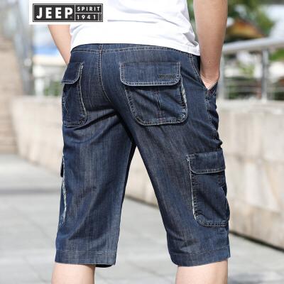 JEEP吉普男士牛仔短裤男装夏季薄款多袋七分裤沙滩裤大码宽松休闲工装牛仔中裤