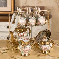 14件�W式茶具陶瓷咖啡具骨瓷咖啡杯套�b英式整套家用下午花茶杯具 16件蝴蝶咖啡套具【�Y盒】 默�J送�|子 14件