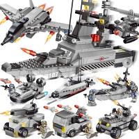 小颗粒积木军事系列导弹驱逐舰0107儿童益智玩具