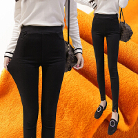 加绒加厚打底裤女外穿秋冬季2017新款胖mm大码高腰小脚裤铅笔裤子