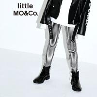 littlemoco女童裤子黑白条纹打底裤松紧腰字母章仔长款休闲裤