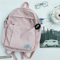 双肩包女2019新款 韩版校园高中学生大容量潮流旅行包超火书包 樱花粉 挂件