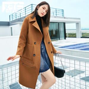 对白简约字母贴袋中长款毛呢大衣女新款翻领落肩呢外套