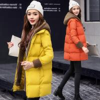 棉衣女中长款连帽拉链纯色上衣气质百搭加厚保暖面包服外套潮