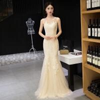 时尚韩版修身鱼尾晚礼服长款2017春新款宴会新娘订婚结婚敬酒服女