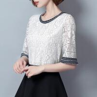 蕾丝短袖女夏上衣2018新款遮肚子显瘦雪纺衫钩花镂空时尚洋气小衫