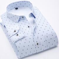 大码免烫男士加绒加厚印花波点长袖衬衫碎花保暖格子衬衣商务休闲