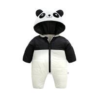 婴儿连体衣服男宝宝新生儿3个月1秋冬季加厚外套装