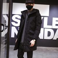冬季新款韩版休闲男士中长款修身棉衣时尚连帽外套男潮 黑色