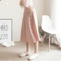 2018秋季新款格子长裙夏女2018新款韩版学生森系高腰复古港味中长款半身裙裙子 均码