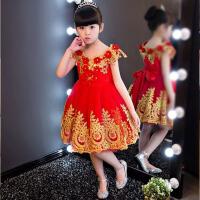 女童婚纱蓬蓬裙钢琴演出服花童主持人晚礼服夏 儿童礼服裙公主裙 红色