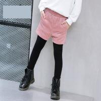 2017新款冬装儿童女宝宝纯色长裤子女童冬季绒厚假两件打底裤 粉红 色