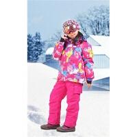 儿童滑雪服套装男童女童防风防水户外加厚保暖登山服冲锋衣滑雪衣