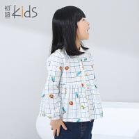初语童装2016秋季新品衬衫长袖休闲格子衬衣印花女童上衣