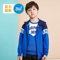 361度童装 男童外套针织18年秋季新品儿童运动上衣大童连帽衣服N51833402