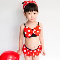儿童泳衣女孩可爱米妮中小童温泉游泳衣女宝宝分体比基尼裙式泳装