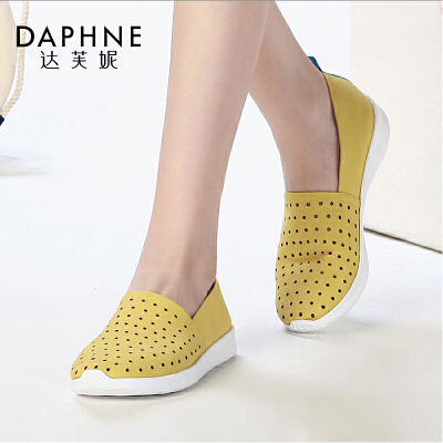 Daphne/达芙妮春新款 休闲鞋女圆头低跟镂空透气单鞋1016101024