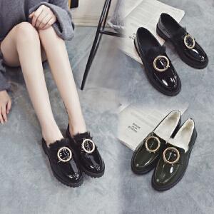 韩版ulzzang原宿日系学院风小皮鞋厚底圆头英伦风学生加棉单鞋