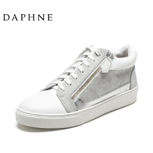 Daphne/达芙妮时尚平底圆头系带拉链懒人一脚蹬休闲鞋