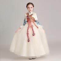 中式女童晚礼服加绒公主裙花童蓬蓬纱主儿童秋冬