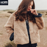 女式外套冬季新款纯色欧美人造皮草毛皮毛绒柔软女上装