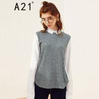 A21以纯线上品牌2017秋装新品假两件长袖衬衫女 翻领撞色设计衬衣女4732170008