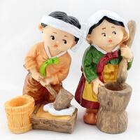 民俗树脂人偶娃娃朝鲜族色摆件装饰品农乐中打打糕抱福背财礼品 高14.5cm 普通大小