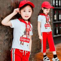 女童夏装2018新款童装运动服儿童洋气短袖卫衣套装夏季大童两件套