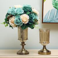 创意玻璃花瓶水晶摆件客厅现代简约新古典美式插花装饰品摆设